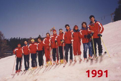 Tým lyžařské školy - rok 1991